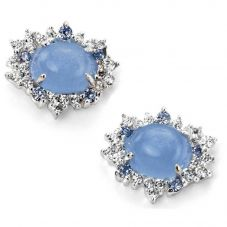 Silver Blue Cats-eye Cubic Zirconia Cluster Earrings E4881T
