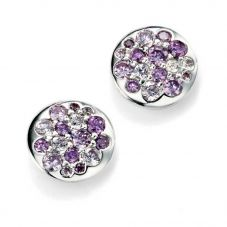 Silver Round Multi Purple Cubic Zirconia Earrings E4886M
