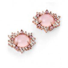 Silver Rose Gold-Plated Rose Quartz Stud Earrings E4882P