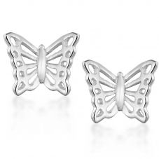 Silver Cut Out Butterfly Stud Earrings 8.55.5279
