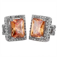 Silver Orange Cubic Zirconia Oblong Cluster Stud Earrings SR0018E-CZ-C