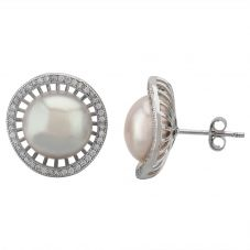 Sterling Silver Freshwater Pearl and Cubic Zirconia Stud Earrings EOW70094FW
