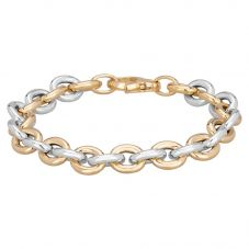 Sterling Silver And Gold Plated Small Oval Link Bracelet NTB156-S/Y