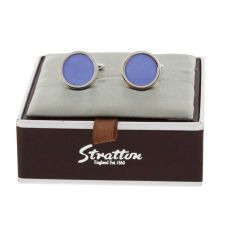 Stratton Rhodium-Plated Blue Cats Eye Cufflinks ST1165