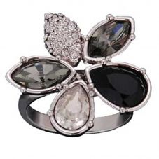 Sparkle Clear Black Crystal Flower Ring R169 BLACK