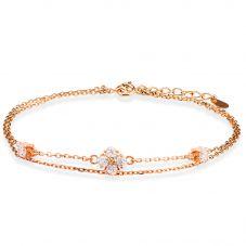 Rosa Lea Rose-Tone Cubic Zirconia Flower Double Chain Bracelet BR214CRRG