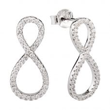 Rosa Lea Silver Pavé Infinity Dropper Stud Earrings 950711EA