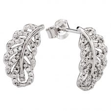 Rosa Lea Silver Pavé Leaf Stud Earrings 950730EA