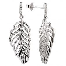 Rosa Lea Silver Pavé Large Leaf Earrings 950732EA