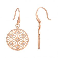 Rosa Lea Rose-Tone Cubic Zirconia Star Mandala Dropper Earrings 950748EA