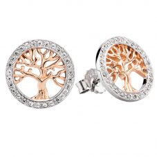Rosa Lea Two-Tone Pavé Tree Of Life Stud Earrings E2989CRG0.5M(TH)