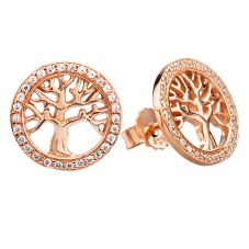Rosa Lea Rose-Tone Pavé Tree Of Life Stud Earrings E2989CRRG0.5M(TH)