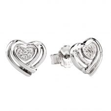 Rosa Lea Silver Pavé Wrapped Hearts Stud Earrings E3132C