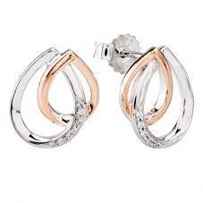 Rosa Lea Two-Tone Pavé Intertwined Pears Stud Earrings E3187CRG0.5