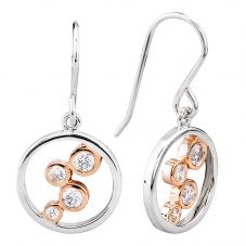 Rosa Lea Two-Tone Cubic Zirconia Bubble Ring Dropper Earrings E3255CRG0.5