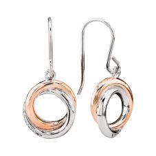 Rosa Lea Two-Tone Pavé Intertwined Rings Dropper Earrings E3268CRG0.5