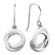 Rosa Lea Silver Pavé Frosted Sparkle Intertwined Rings Dropper Earrings E3268RO
