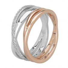 Rosa Lea Two-Tone Pavé Cross-Over Double Ring R2686CRG