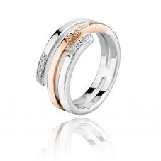 Rosa Lea Two-Tone Cubic Zirconia Coil Ring R2719CRG0.5M