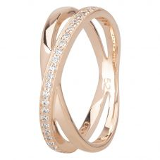 Rosa Lea Rose-Tone Cubic Zirconia Double Crossover Half-Eternity Ring R2742CRRG