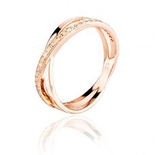 Rosa Lea Rose-Tone Cubic Zirconia Double Crossover Half-Eternity Ring BJ-R2742CRRG