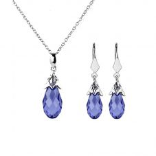Sterling Silver Purple Pear-Shape Crystal Dropper Jewellery Set 13SWSE292F-6/13SWSP292-6