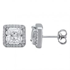 Starbright Silver Square-cut Cubic Zirconia Halo Stud Earrings THB-04E (3A)
