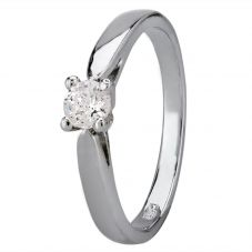 Starbright Silver 4mm Four Claw Round Cubic Zirconia Ring R6025(4M) 3A
