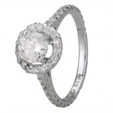 Starbright Silver Round Cubic Zirconia Halo Shouldered Ring R3578 3A