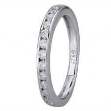Starbright Silver 2mm Cubic Zirconia Channel Set Half Eternity Ring R4179(2M) 1/3 3A