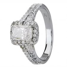 Starbright Silver Baguette-Cut Cubic Zirconia Halo Split Shouldered Ring R6160 3A