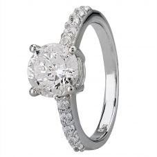 Starbright Silver Four Claw Round Cubic Zirconia Shouldered Ring R6168 3A