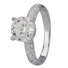 Starbright Silver Four Claw Round Cubic Zirconia Pavé Shouldered Ring R6285 3A