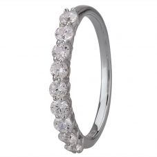 Starbright Silver Cubic Zirconia Claw Set Half Eternity Ring R6545 1/3 3A