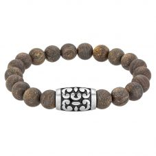 Bourne and Wilde Mens Bronzite Beaded Bracelet OSB-1626SBN