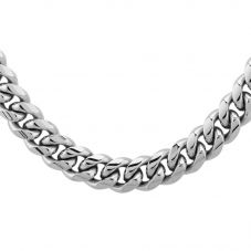 Bourne and Wilde Mens Stainless Steel 60cm Polished Flat Curb Chain STBTH009