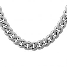 Bourne and Wilde Mens Stainless Steel 60cm Matt Flat Curb Chain STBTH010
