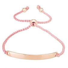 Isabella Verona Pink Cord Rose Gold tone ID Toggle Bracelet BRS-576-3