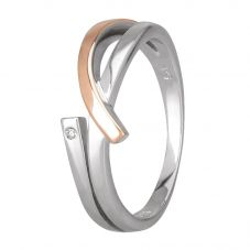 Petite Diamonds Two-Tone Looping Ribbons Ring DR339CRG2M(T)