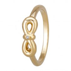 Petite Diamonds Gold Infinity Bow Ring DR346CAA2M(T)
