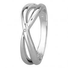 Petite Diamonds Silver Crossover Ring DR357C(T)