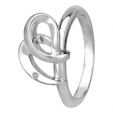 Petite Diamonds Silver Abstract Knotted Heart Ring DR365C(T)