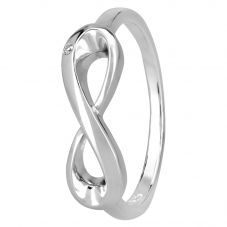 Petite Diamonds Silver Infinity Loop Ring R2810C(T)