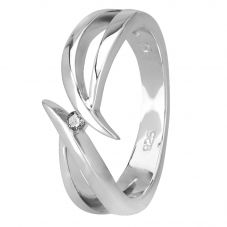 Petite Diamonds Silver Open Twist Ring R3186C(T)