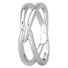Petite Diamonds Silver V-Link Ring R3291C(T)