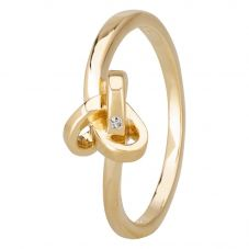 Petite Diamonds Gold Triskele Knot Ring R3354CAA2M(T)