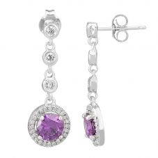 Morado Silver Round Purple Cubic Zirconia Halo Dropper Earrings THB-05E PURPLE