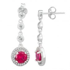 Morado Silver Round Red Cubic Zirconia Halo Dropper Earrings THB-05E RED