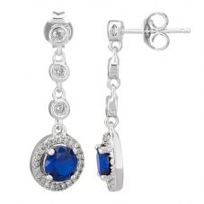 Morado Silver Round Blue Cubic Zirconia Halo Dropper Earrings THB-05E BLUE