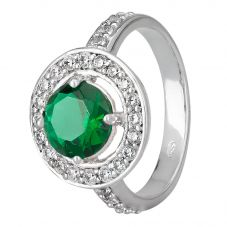 Morado Silver Round Green Cubic Zirconia Floating Halo Ring R3950 GREEN